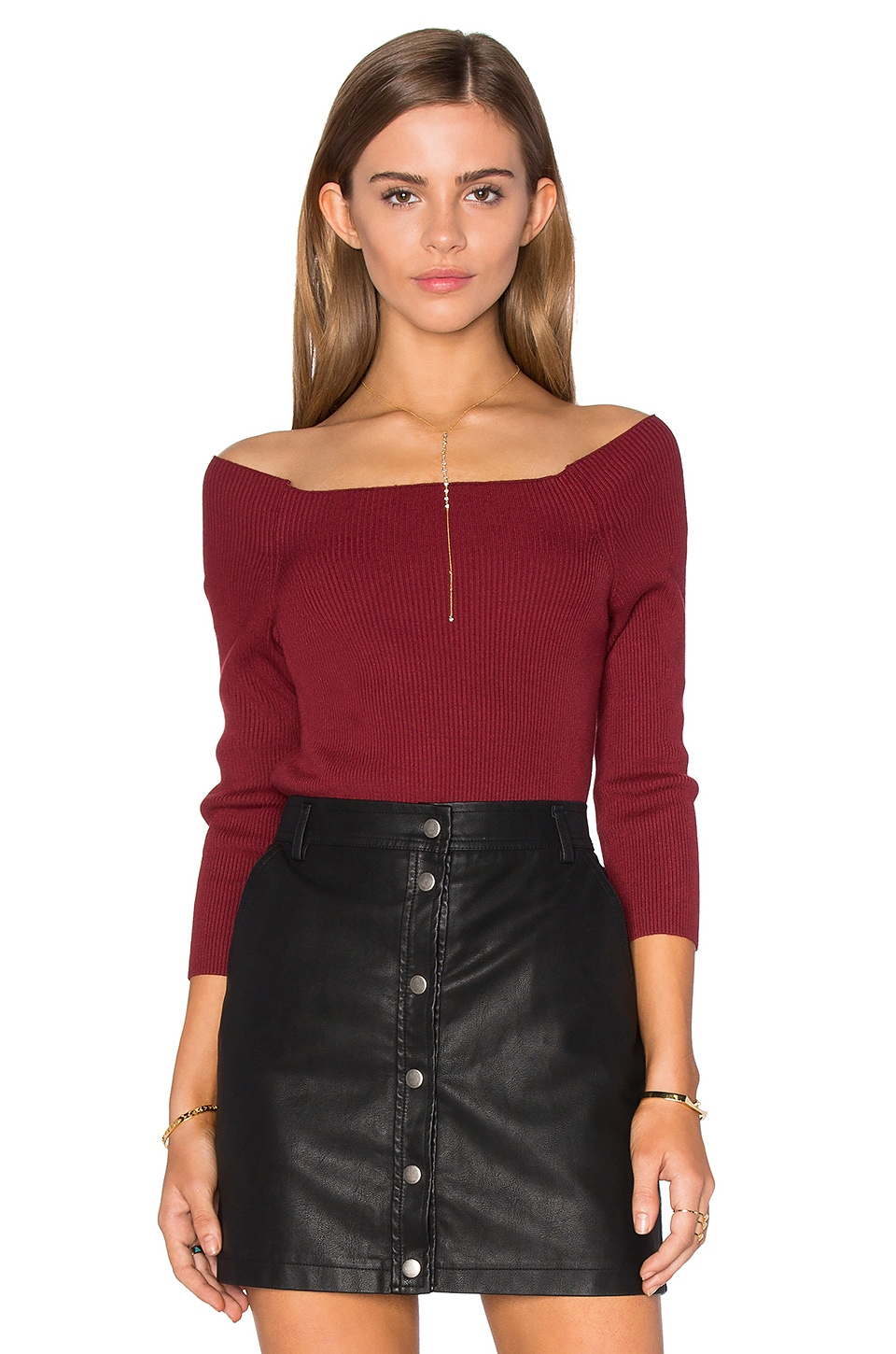 3/4 Sleeve Off Shoulder Sweater