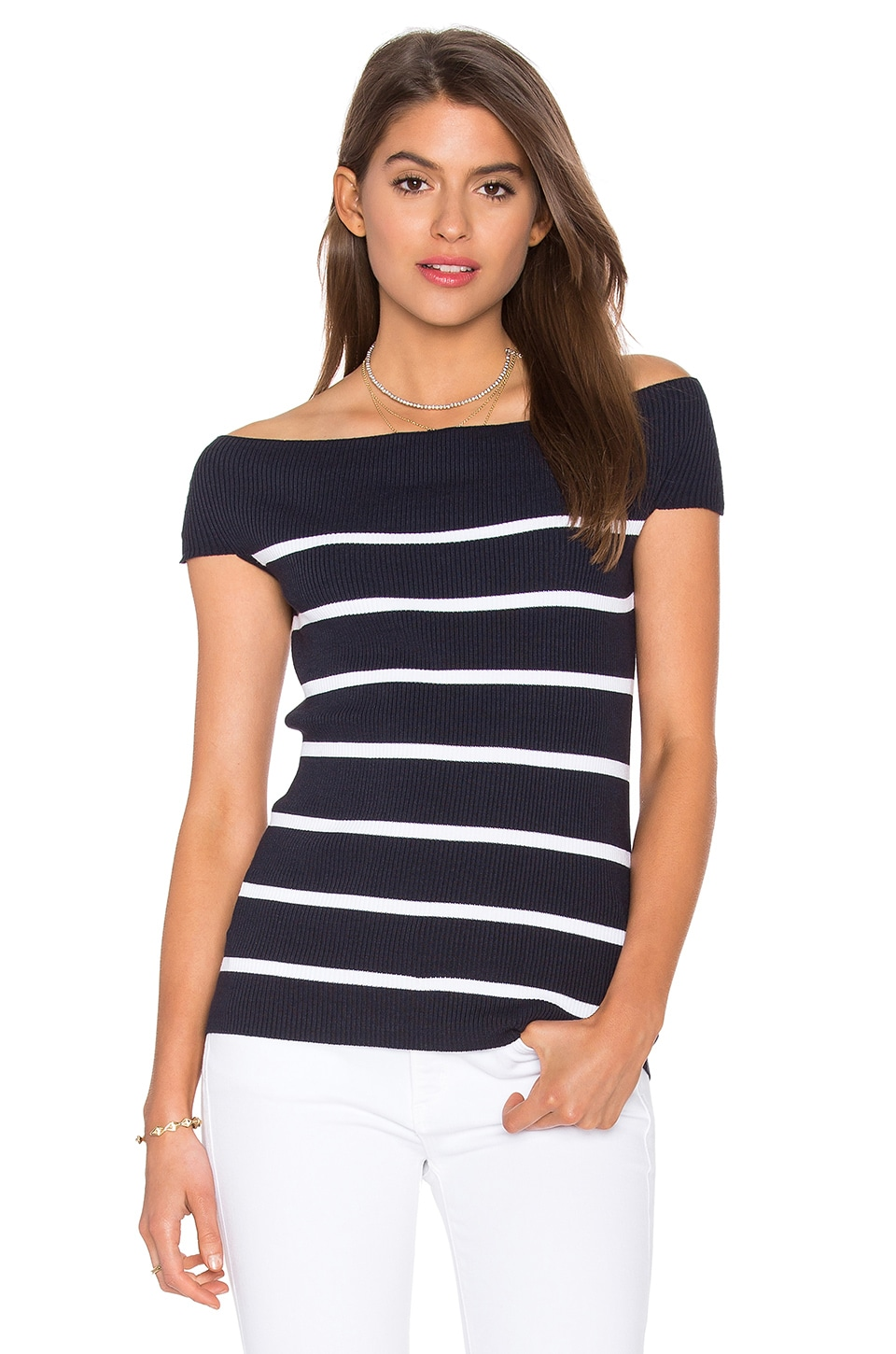Off Shoulder Rib Tee