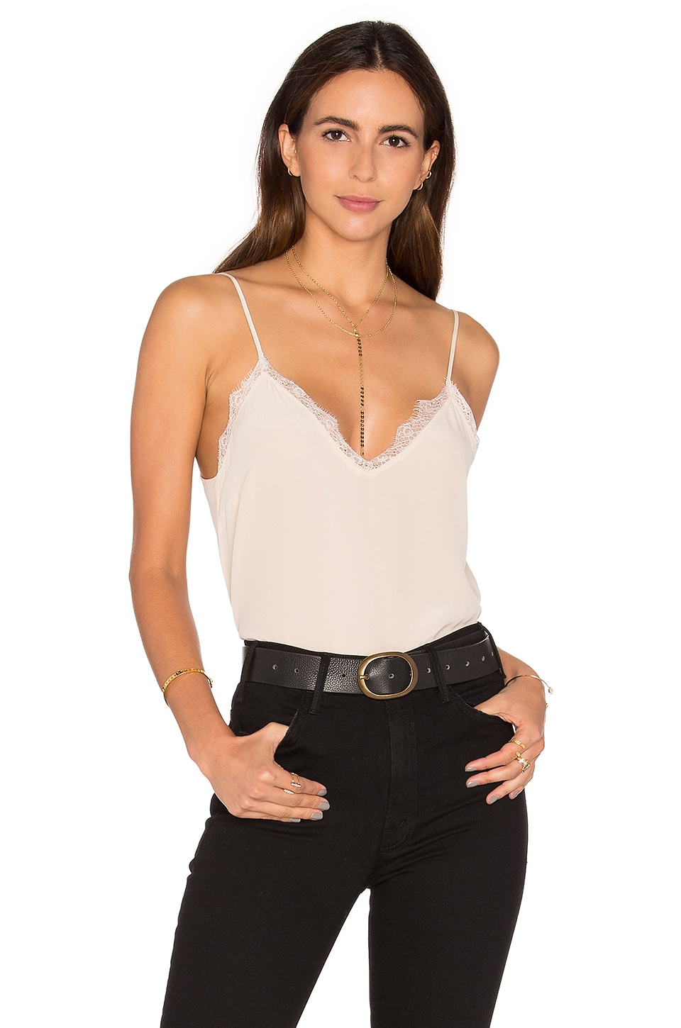 Silk Camisole with Lace Details