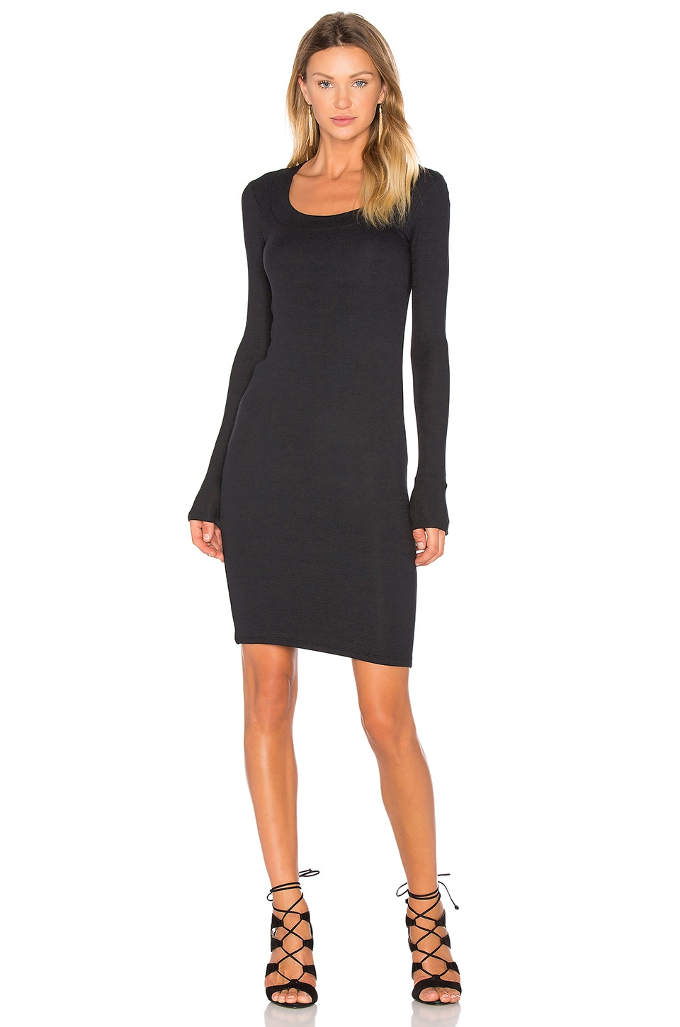 Wide Neck Long Sleeve Dress