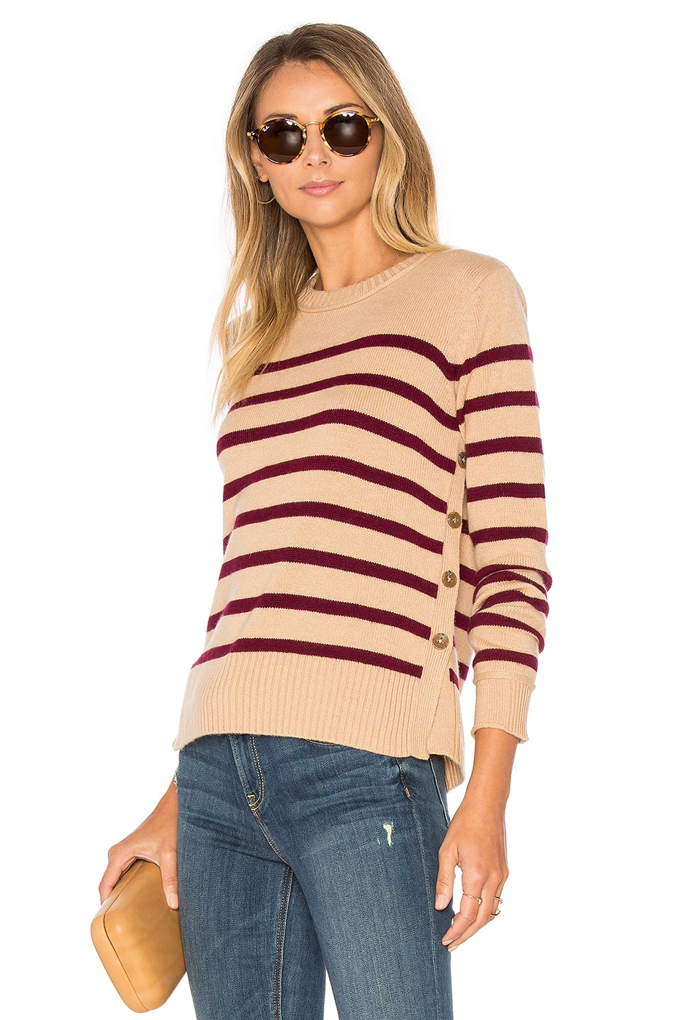 Breton Side Button Stripe Sweater