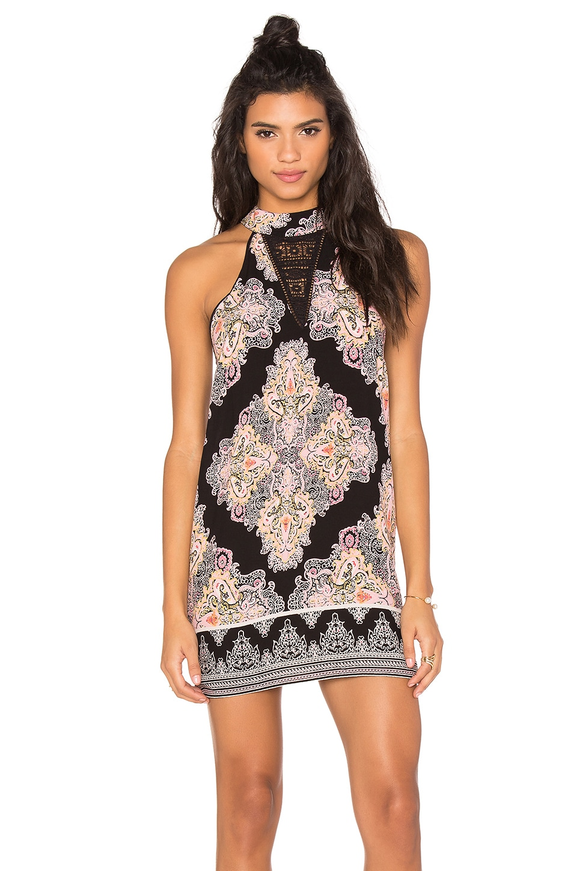 High Neck Printed Mini Dress