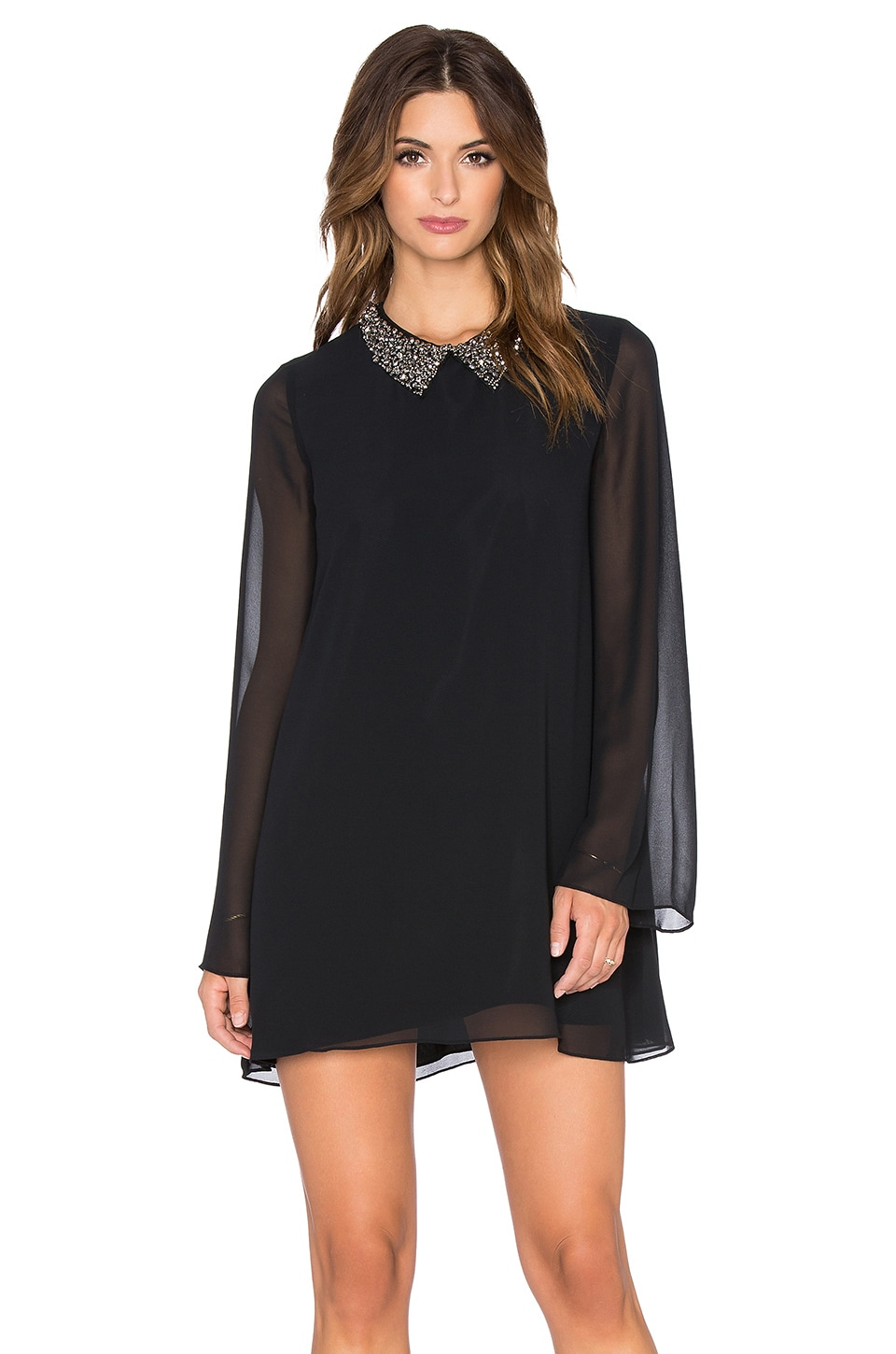 Embellished Collar Mini Dress