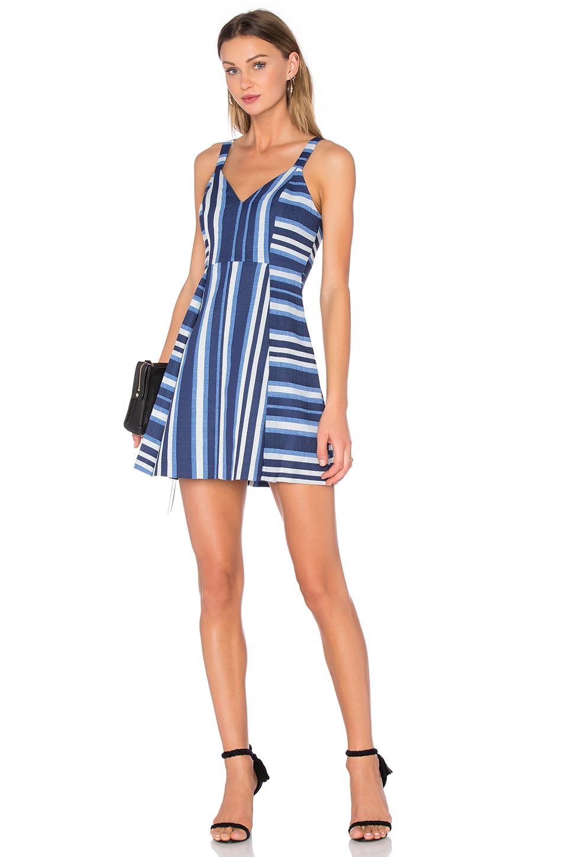 Cocktail Striped V Neck Dress
