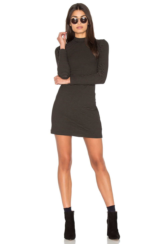 Stripe Rib Mock Neck Mini Dress