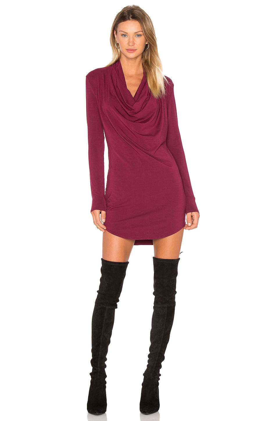Jersey Long Sleeve Cowl Neck Bodycon Dress