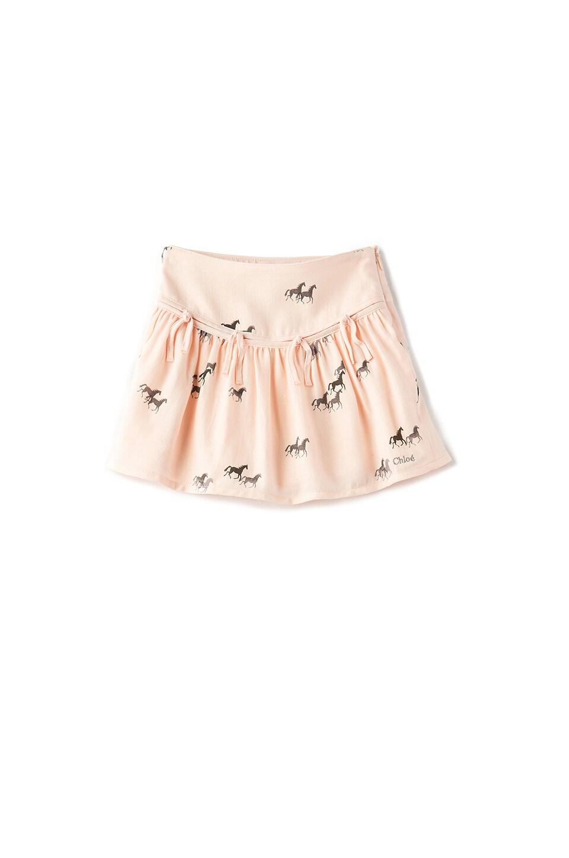 Kids Horse Print Fringe Skirt