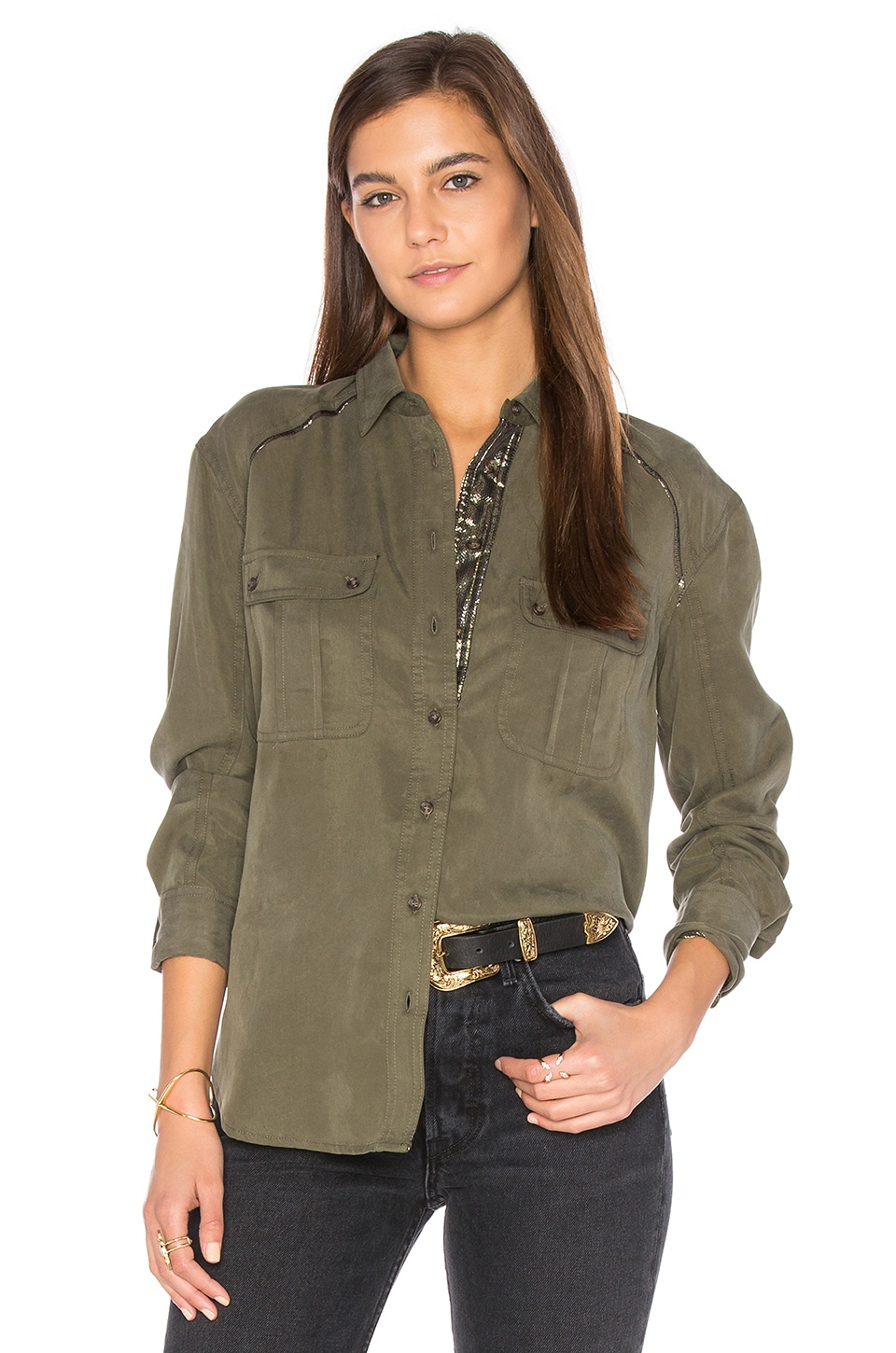 Off Campus Button Down Top