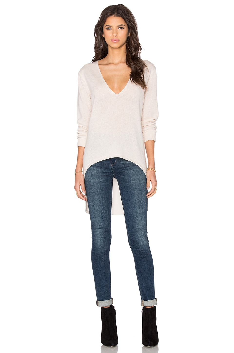 V Neck High Low Sweater
