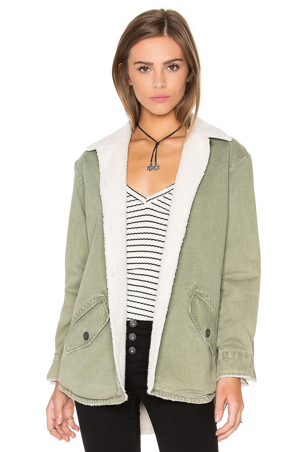 Vegan Sherpa Lined Shirt Jacket