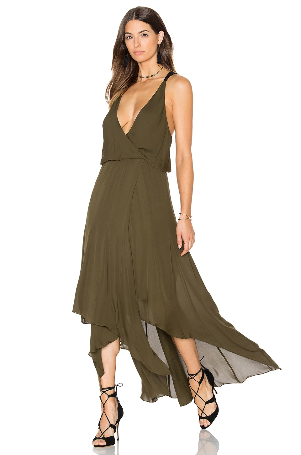 Chiffon Godets Leather Wrap Dress