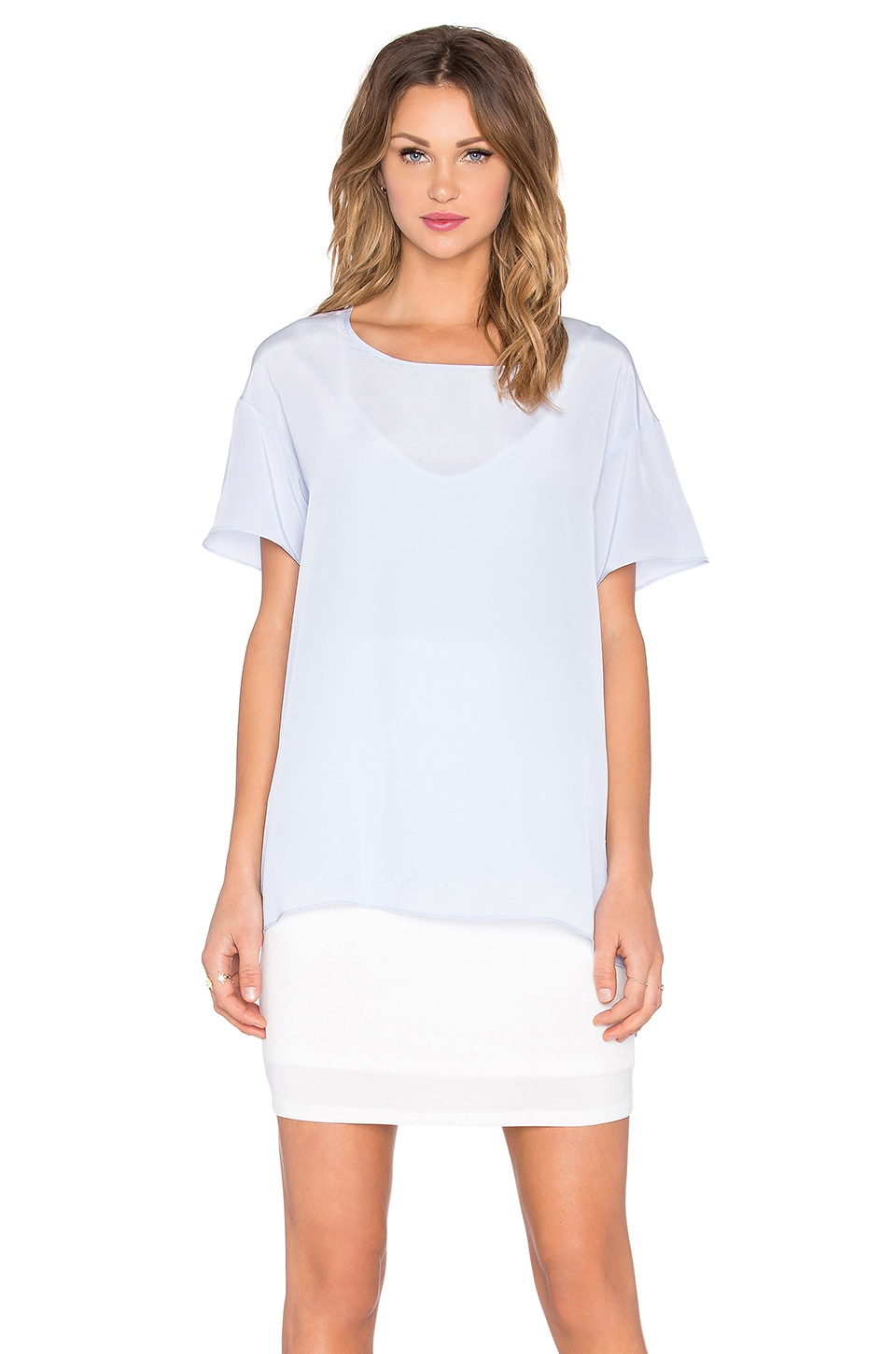 Silk Overlay Tee Dress