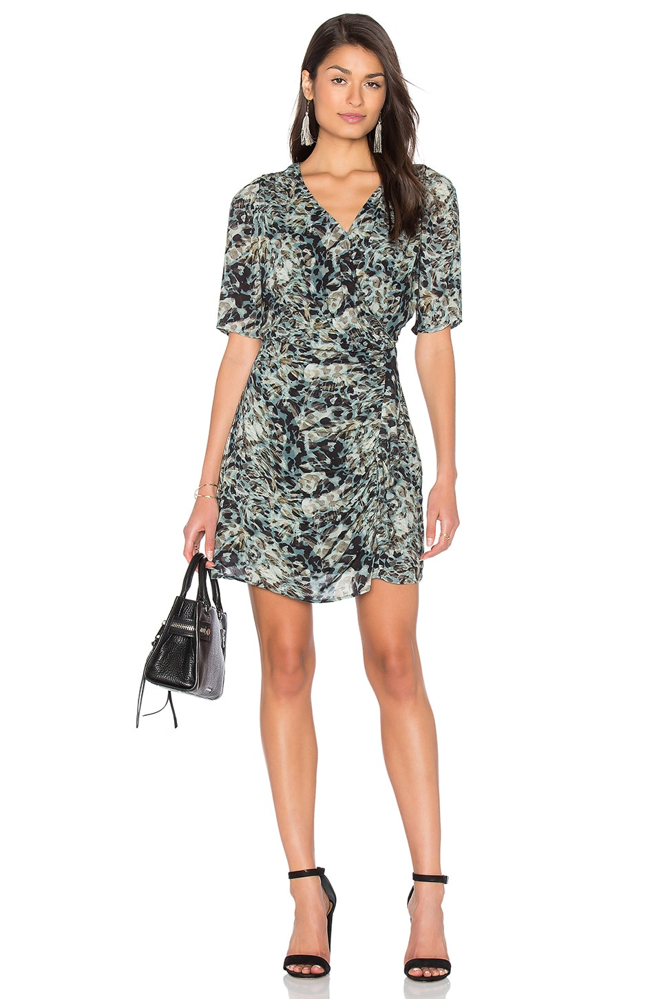 Long Sleeve Jungle Print Wrap Dress