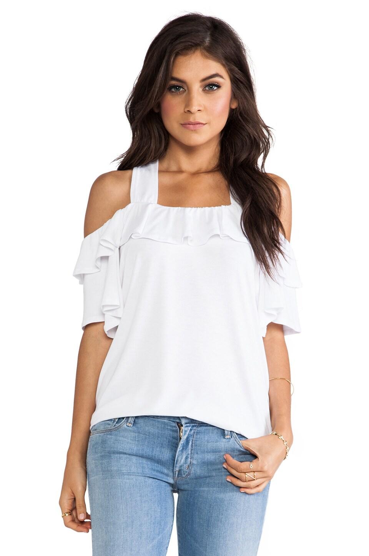 Блуза с открытыми плечами и воланом своими руками Дизайнерская одежда 90