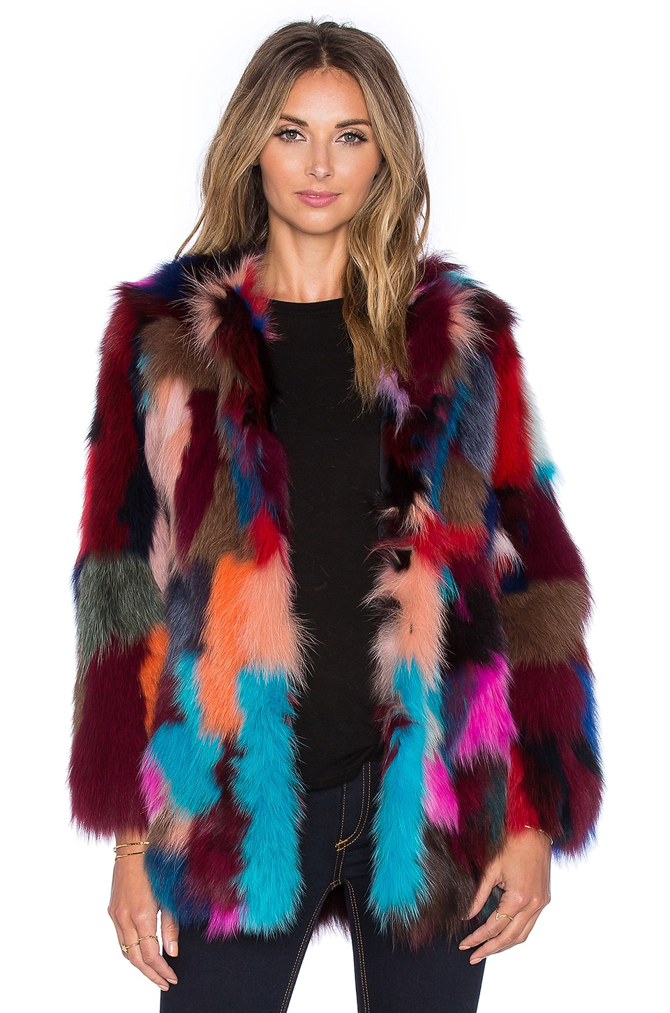 Dyed Fox Belly Fur Jacket