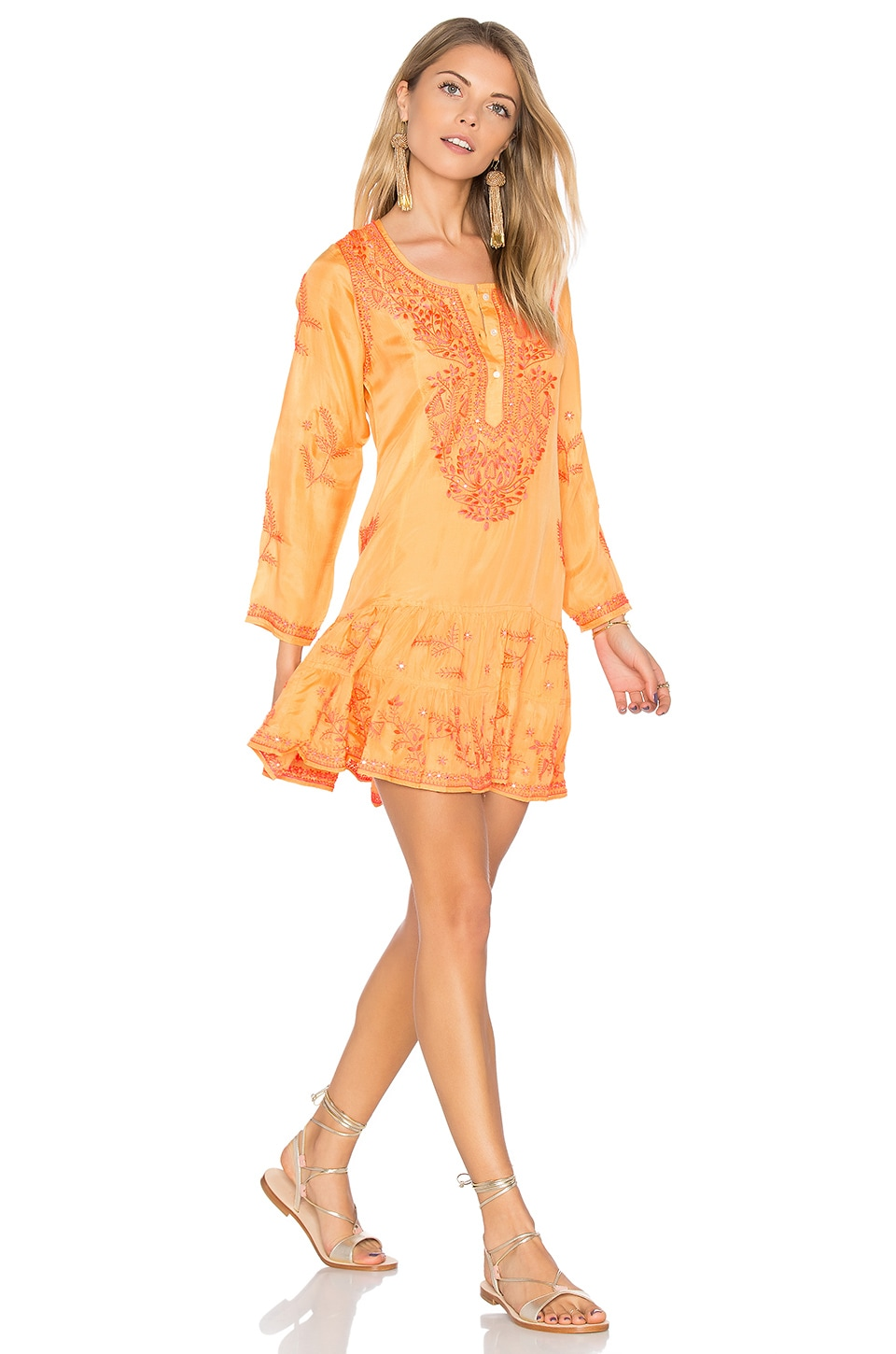 Silk Long Sleeve Beach Dress