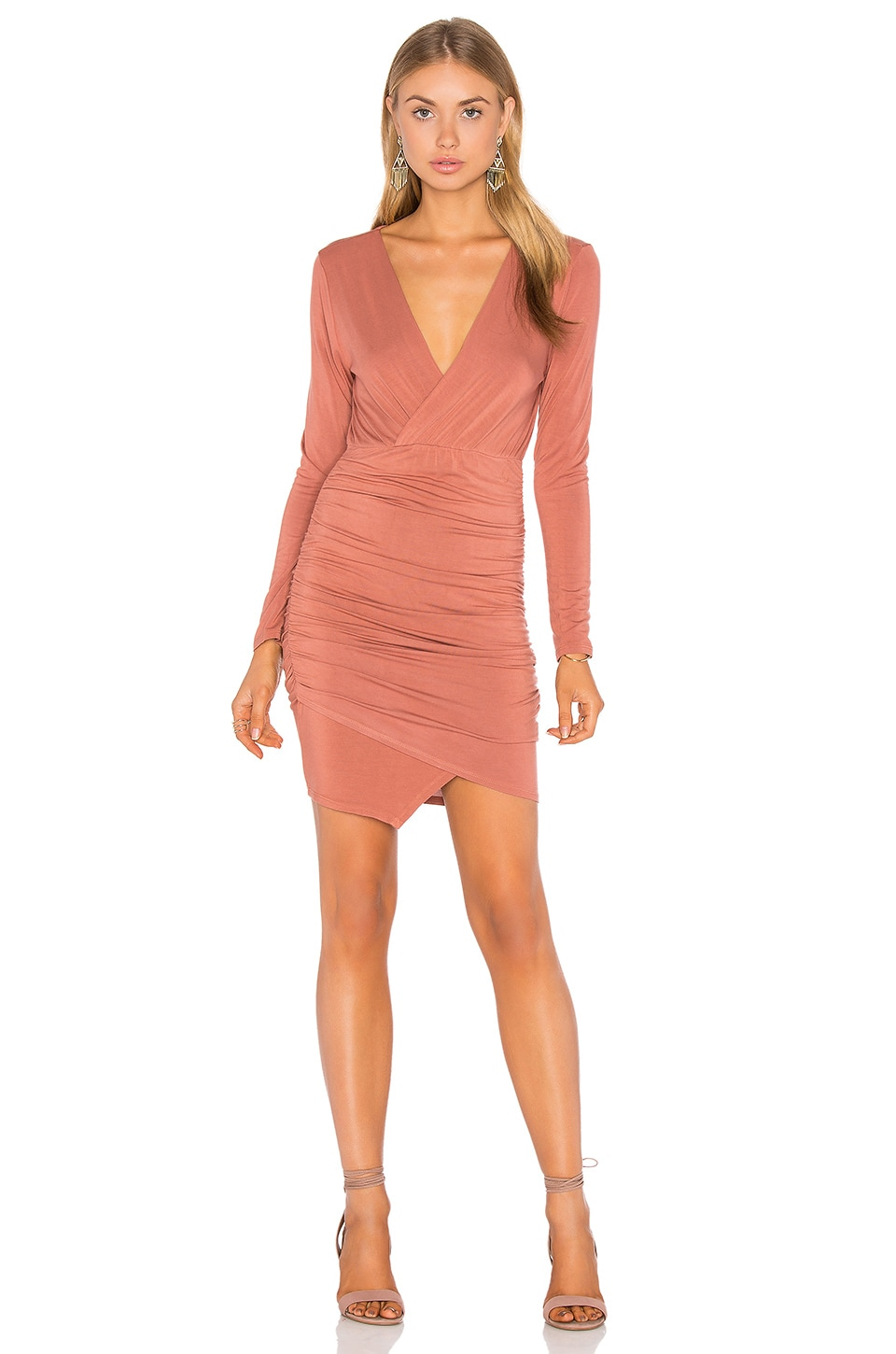 Asymmetrical Surplice Mini Dress