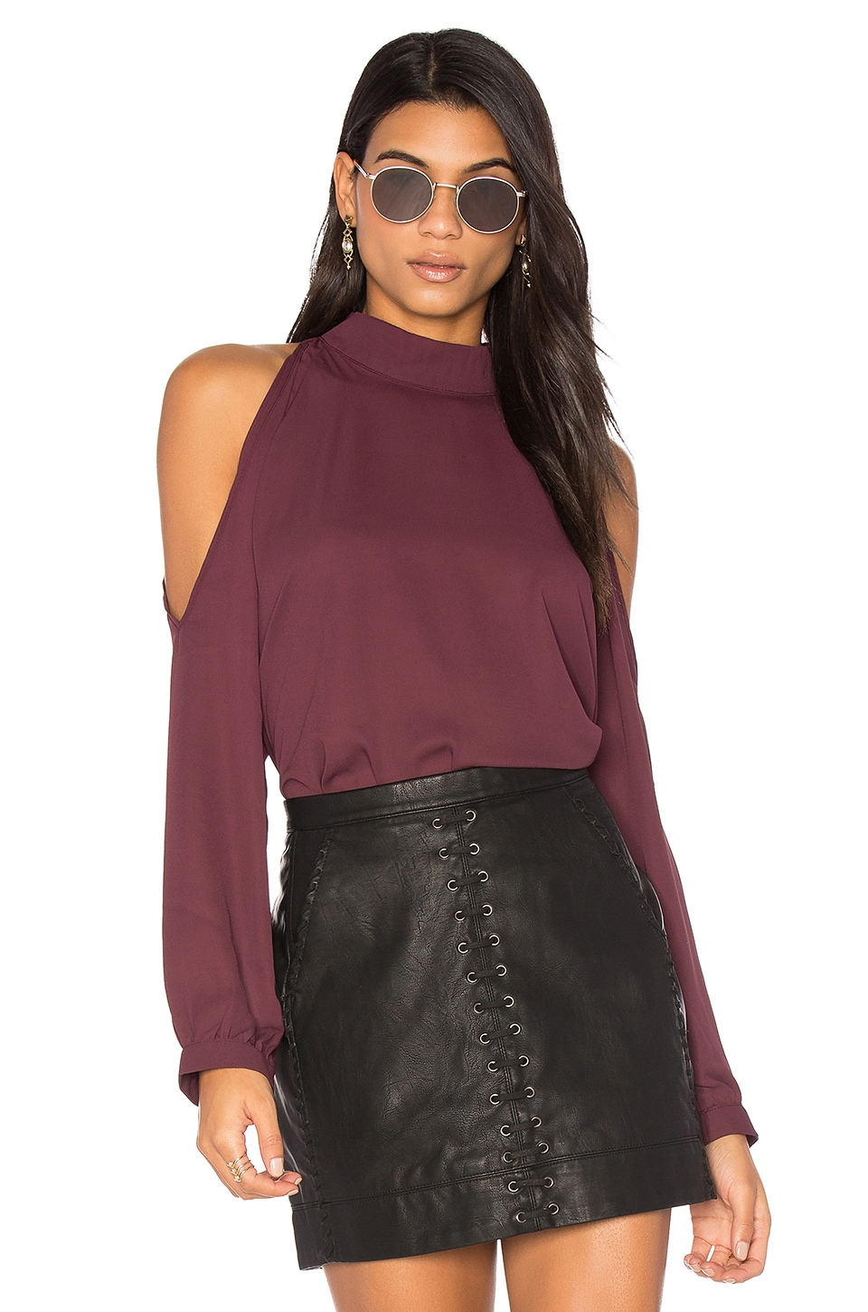 Cold Shoulder Turtleneck Top