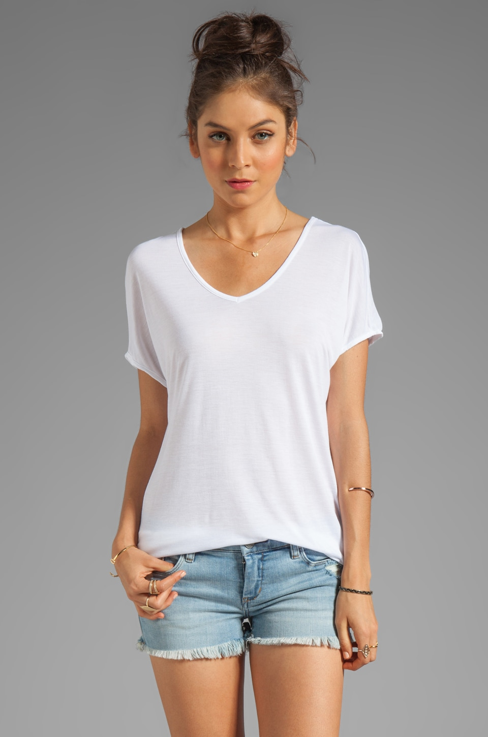 Viscose Jersey Double V Slouch Tee