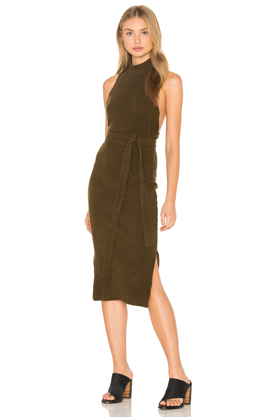 Rib Knit Open Back Wrap Tie Midi Dress