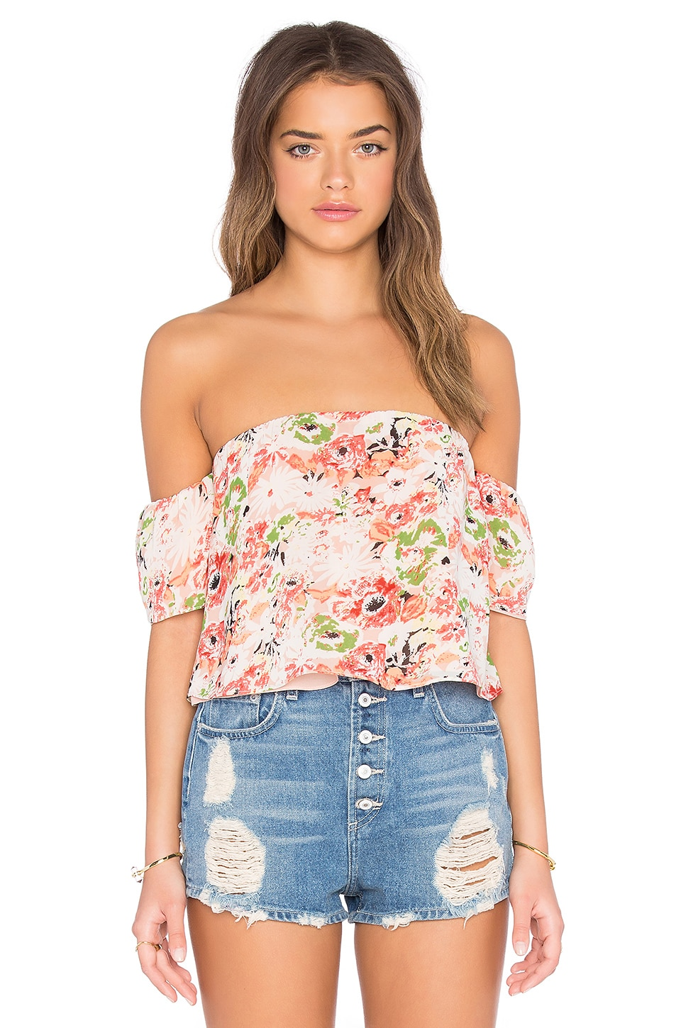 Printed Off Shoulder Crop Top