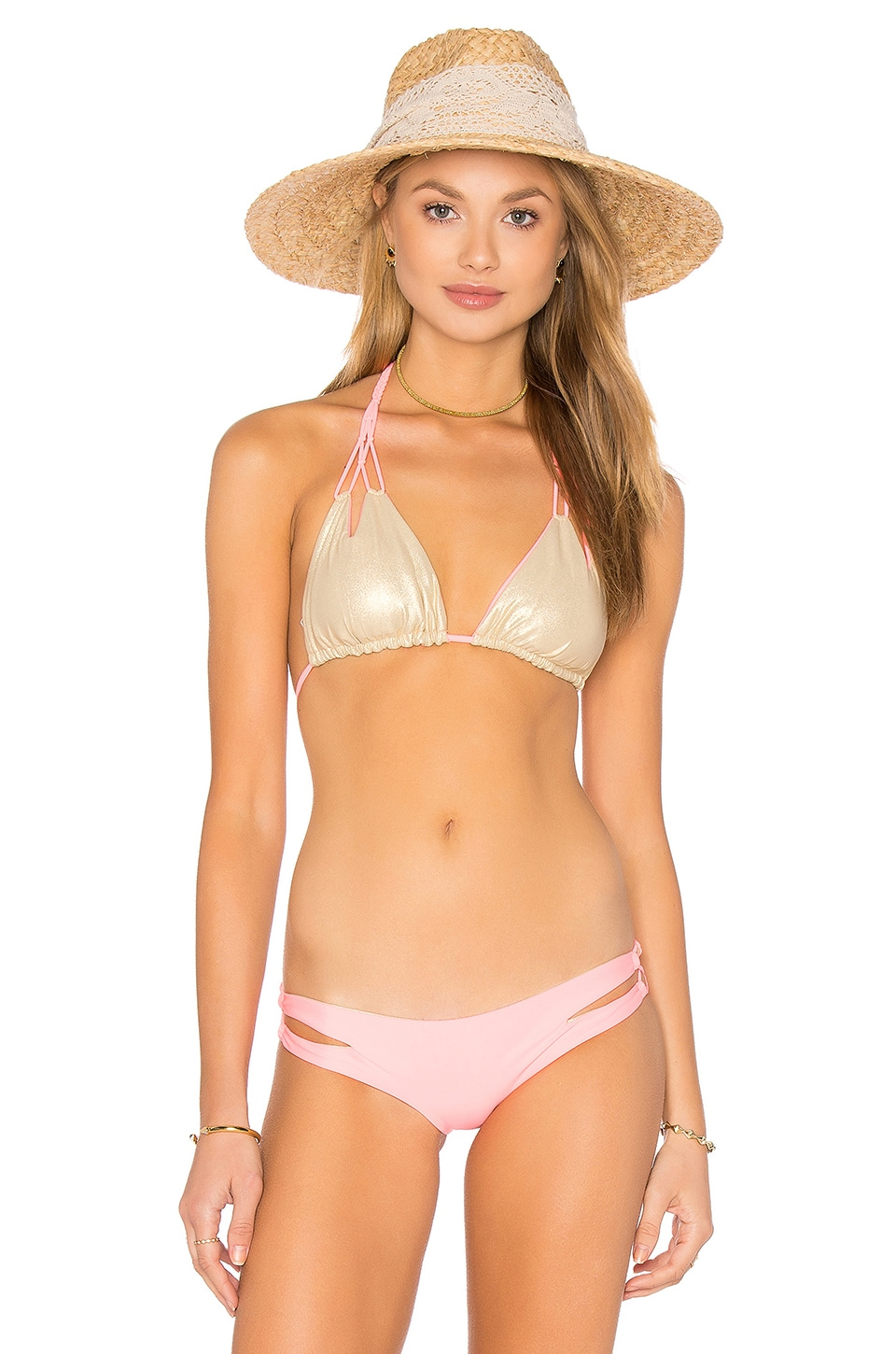 Cosita Buena Reversible Zig Zag Knotted Cut Out Triangle Top