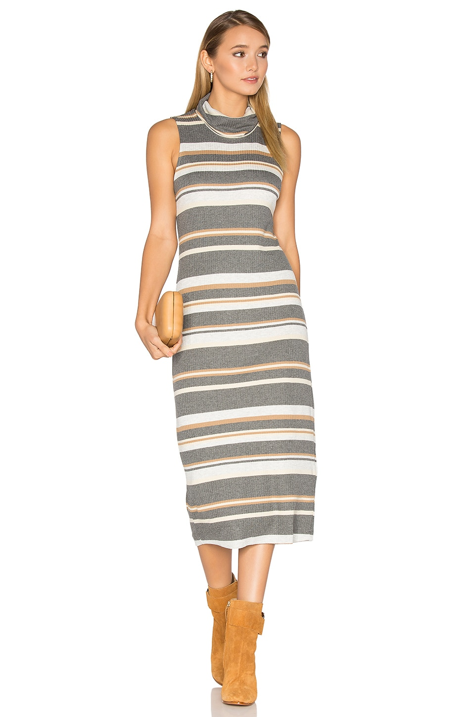 Sleeveless Cowl Neck Midi Dress