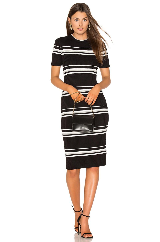Stripe Rib Sweater Midi Dress