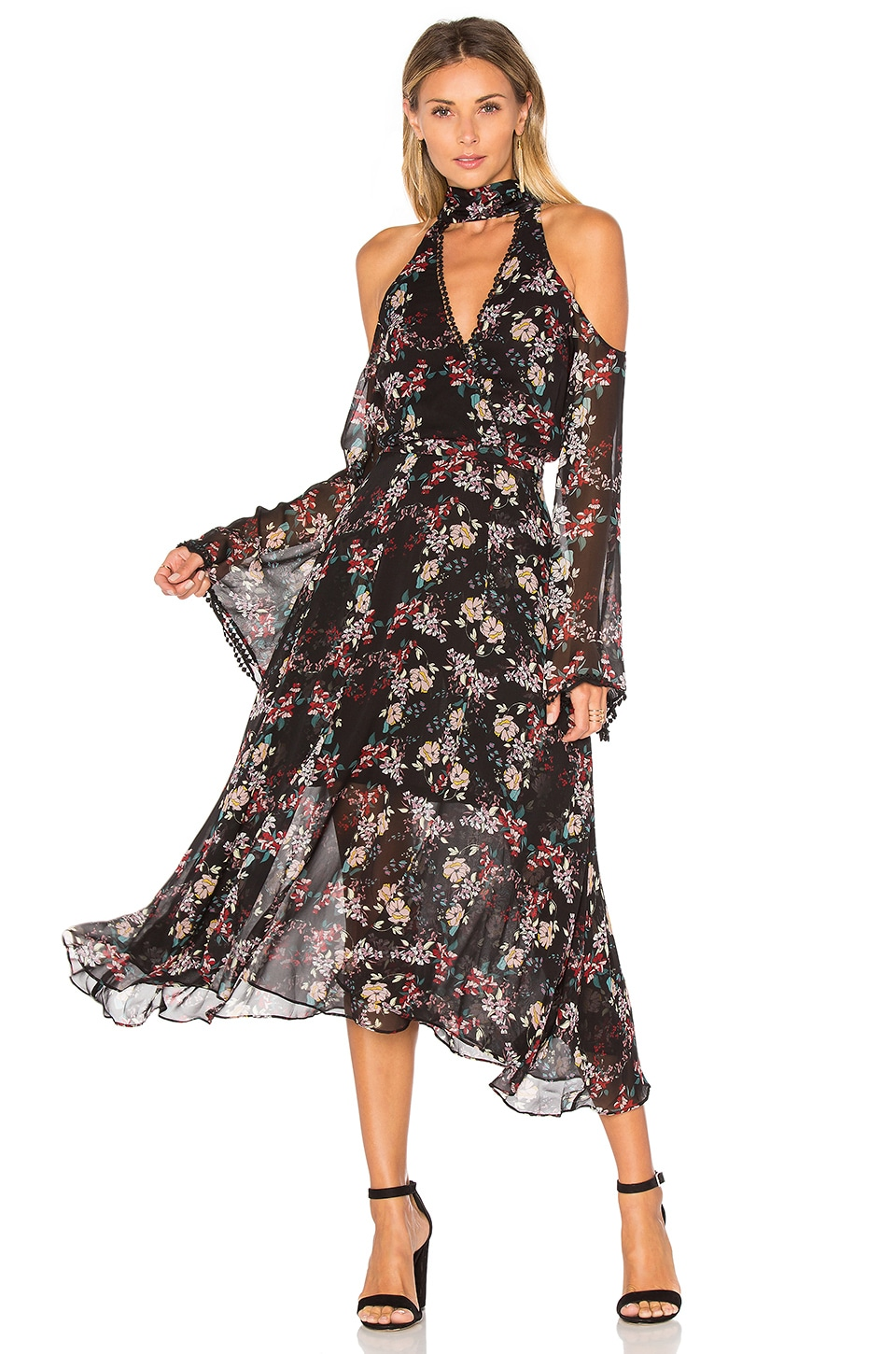 Floral Chain Neck Wrap Front Dress