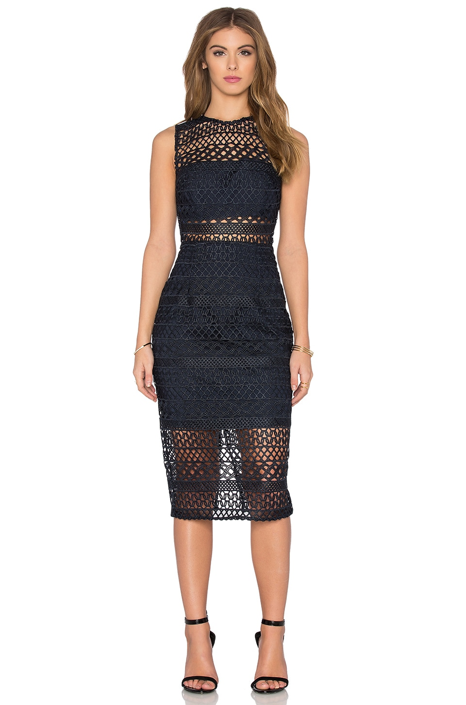 Braided Lace Fitted Bandeau Dress