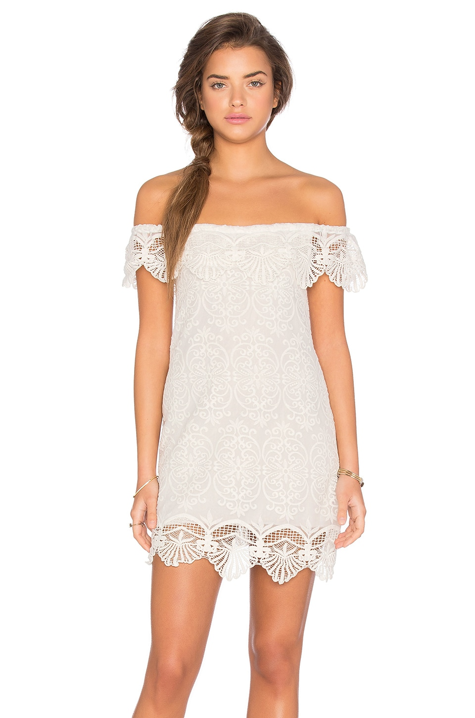 Seashell Lace Off Shoulder Dress