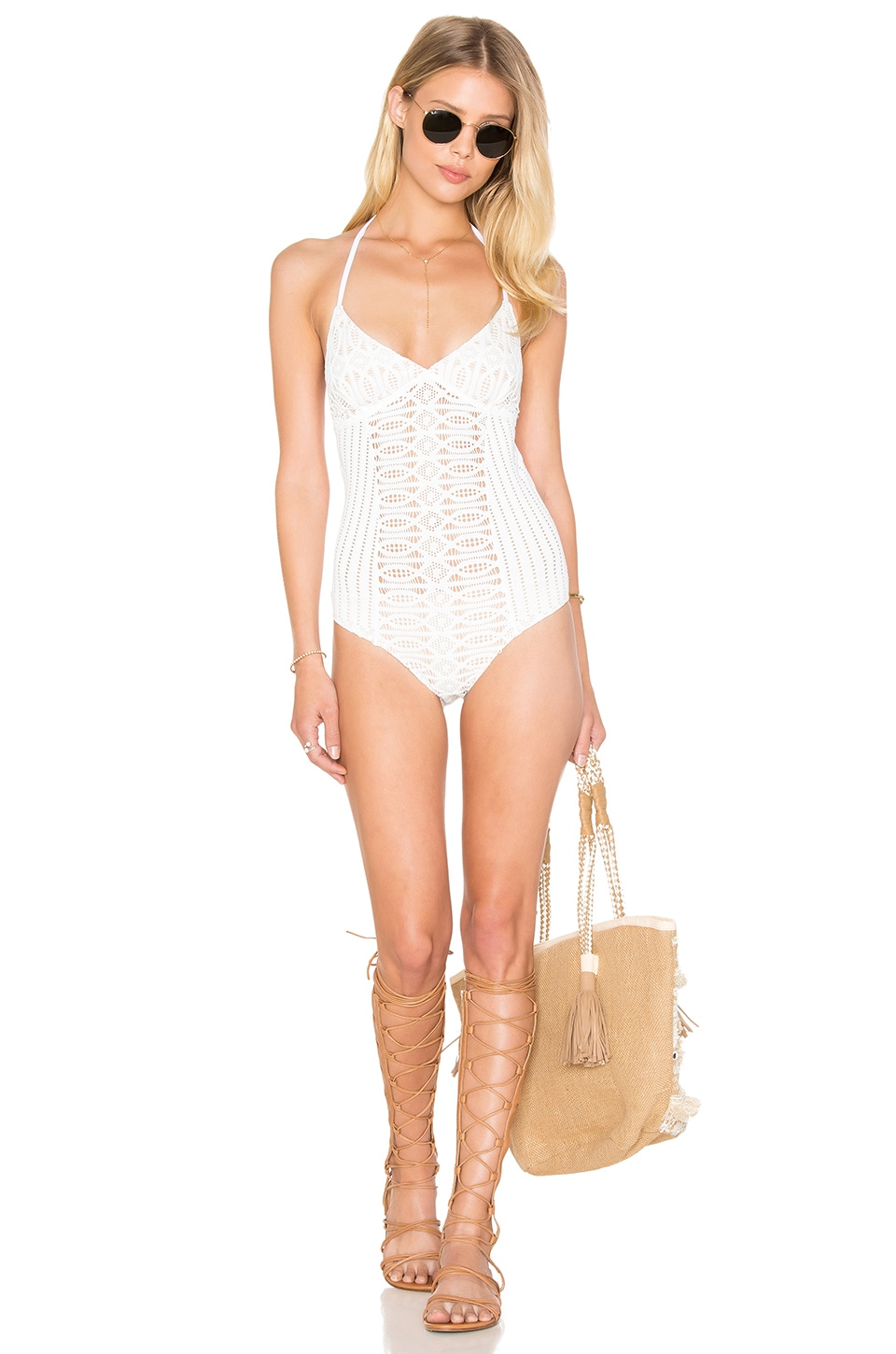 Spiral Lace One Piece Swimsuit