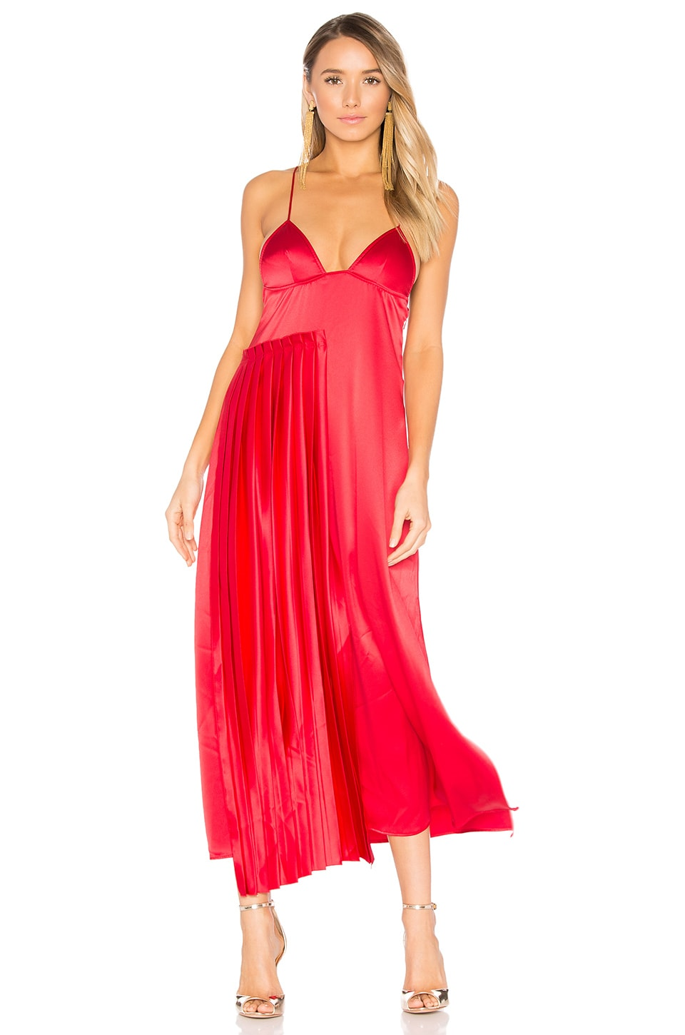 Pleated Panel Slip Dress