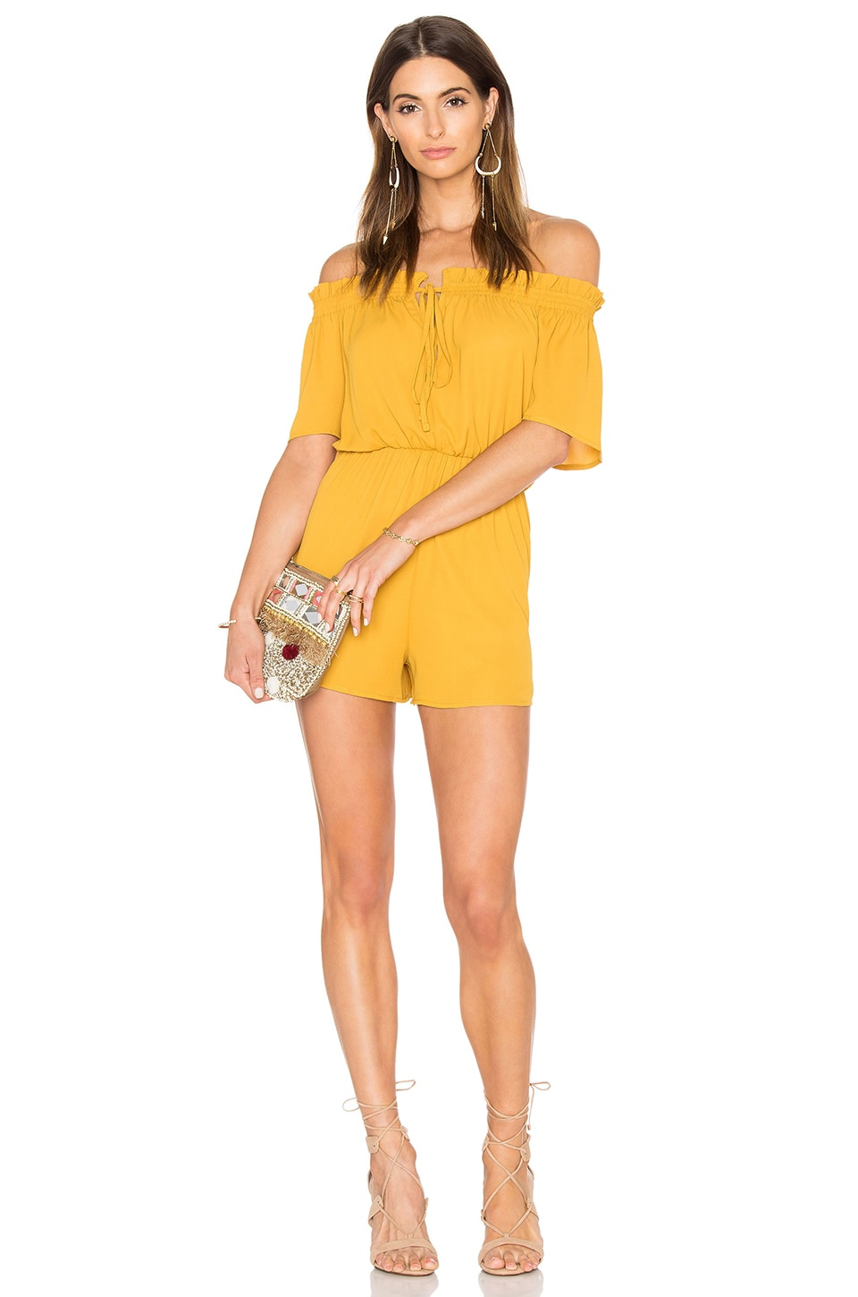 Off Shoulder Tie Romper