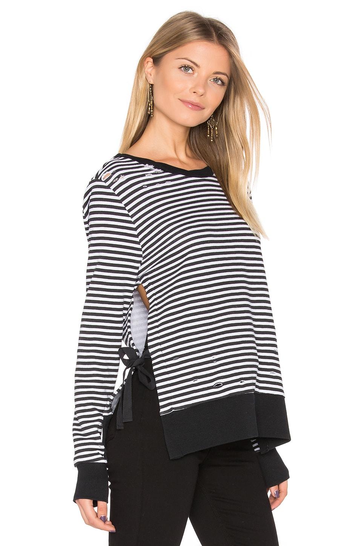 Stripe Side Slit Sweatshirt