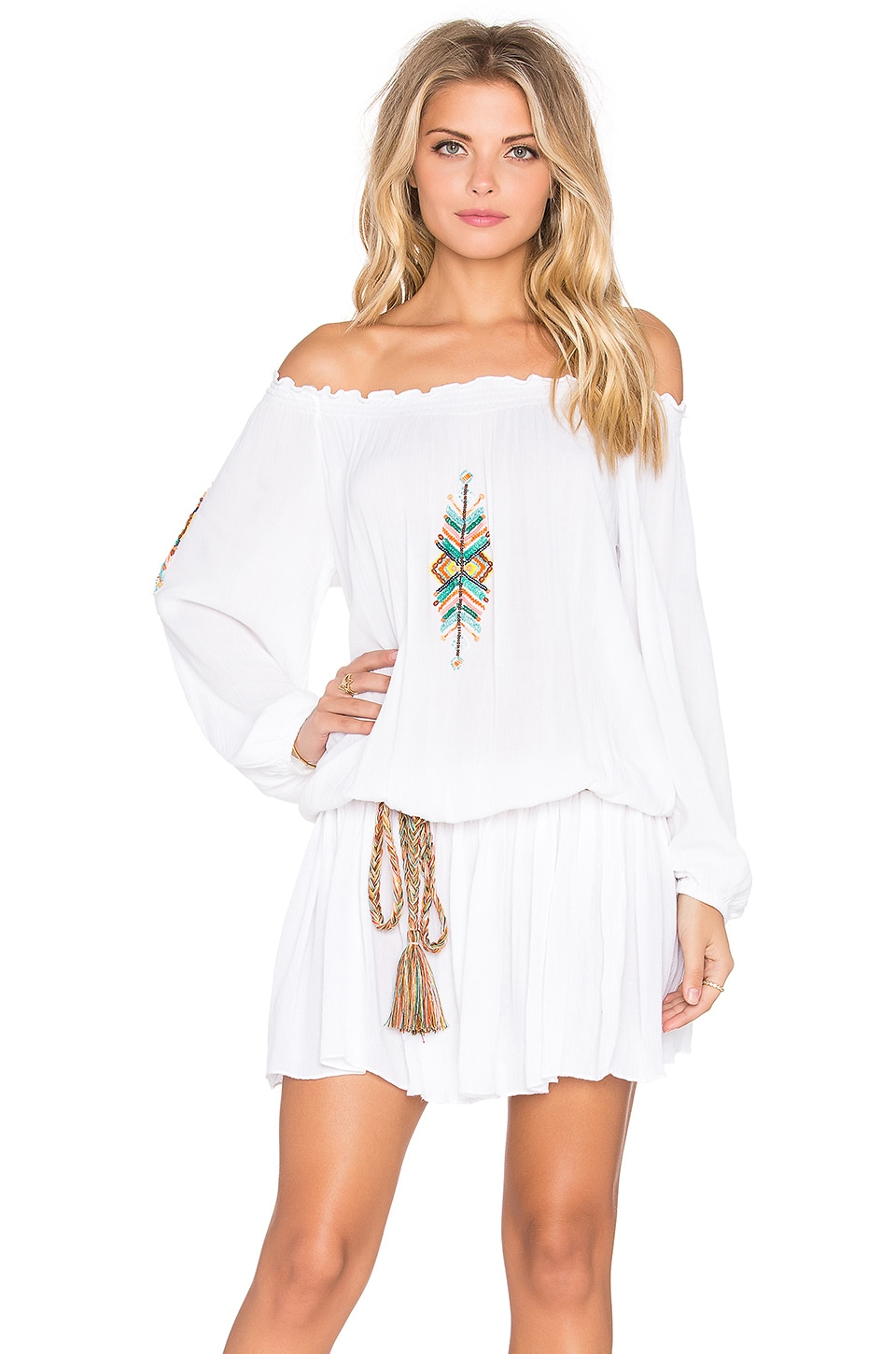 Off Shoulder Embroidered Mini Dress