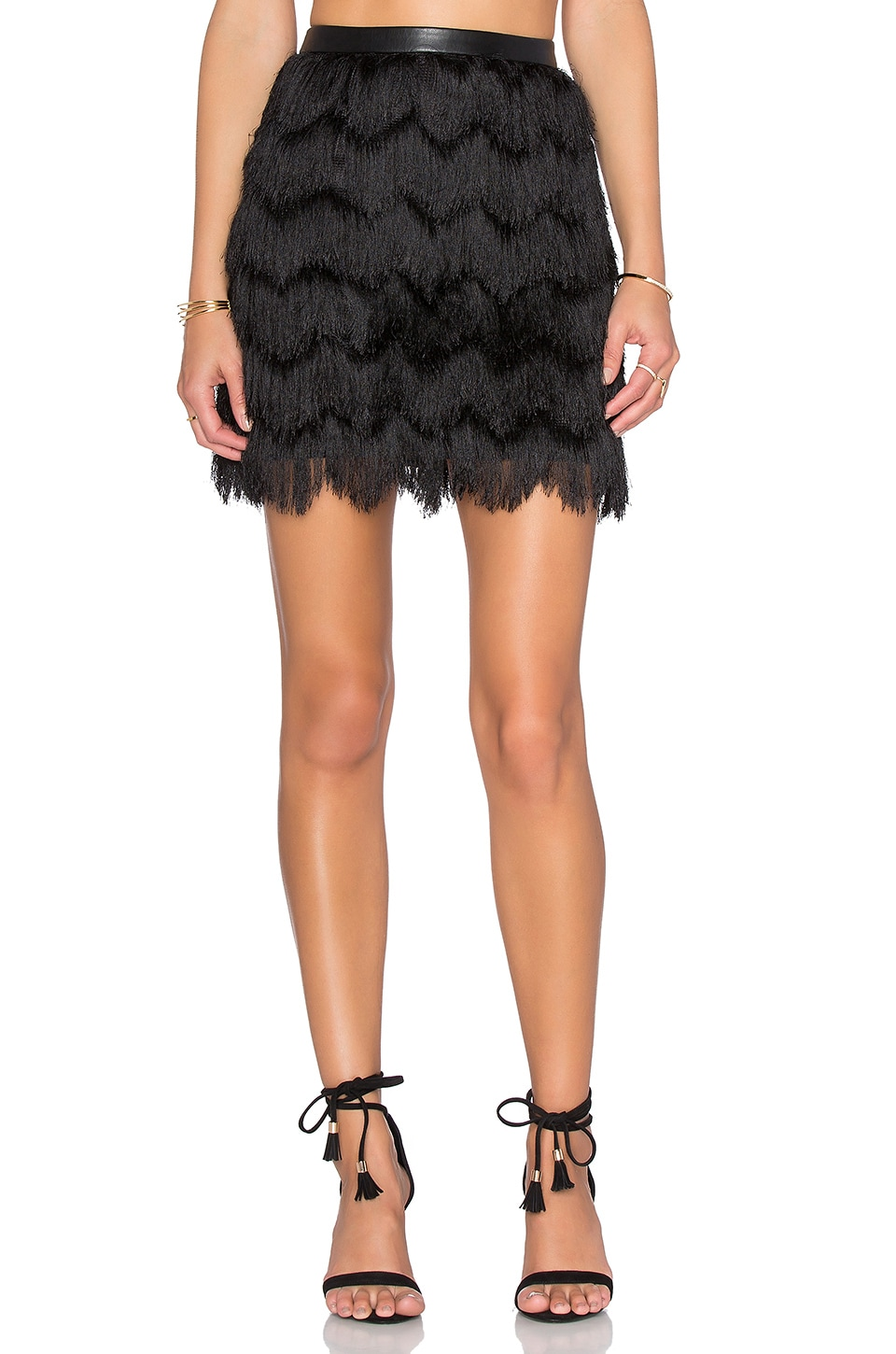 Fiona Feather Fringe Mini Skirt