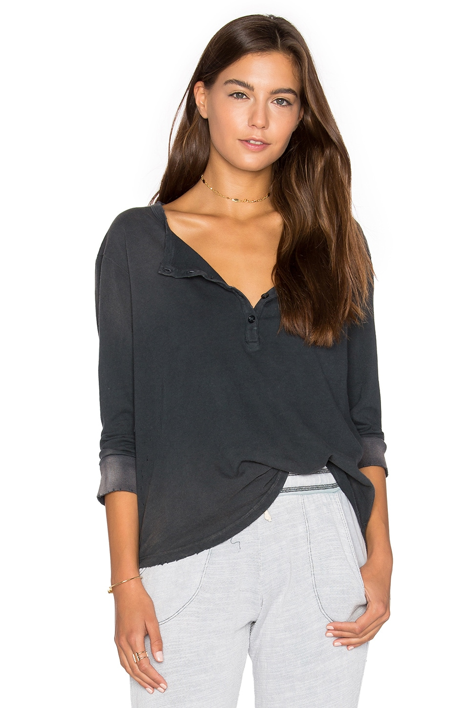 Distressed Jersey Henley