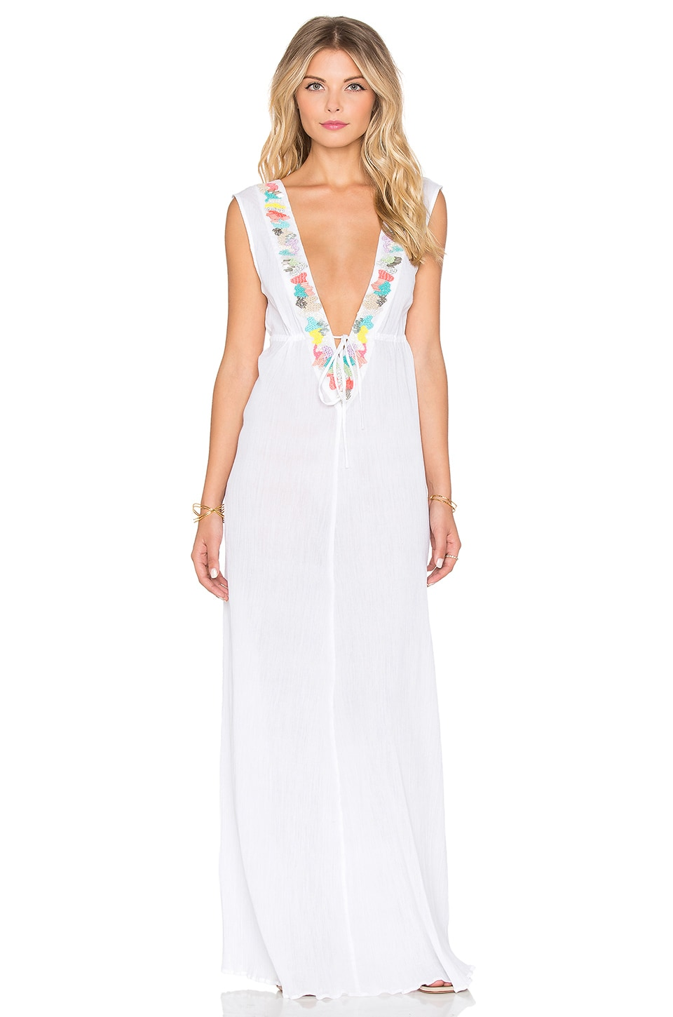 Mixed Media Embroidered Maxi Dress