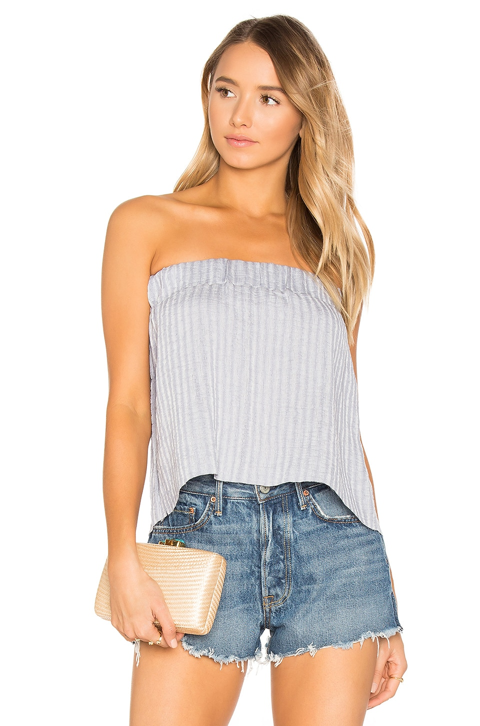 Sky Strapless Pleat Top