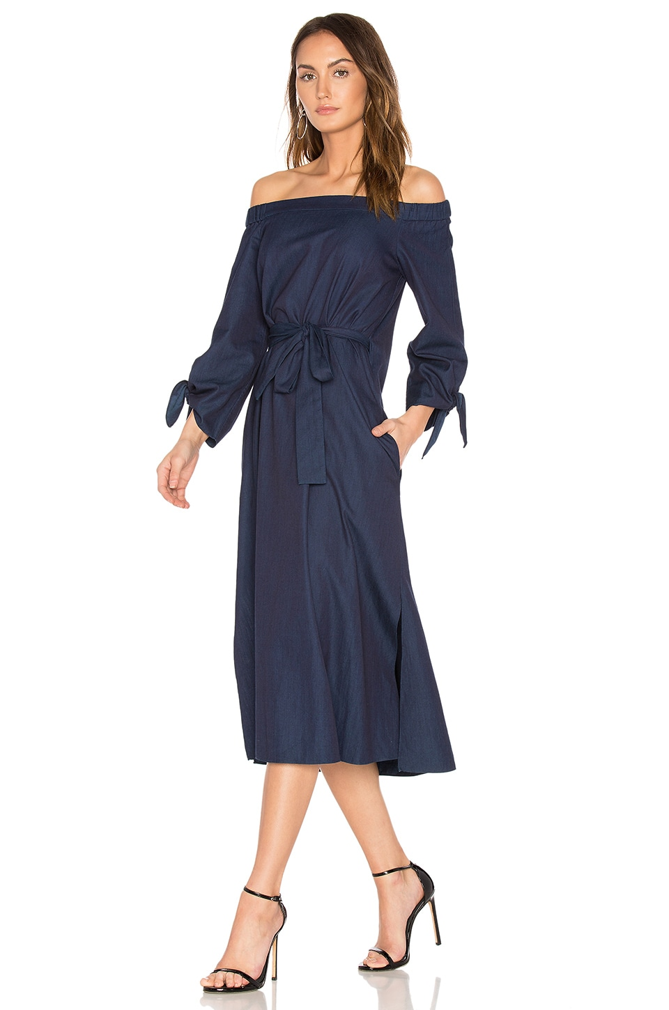 Off Shoulder Belted Midi Dress