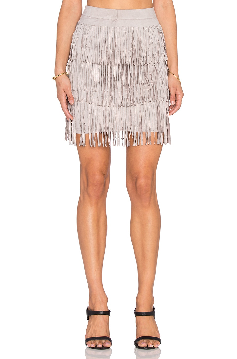 x Love Indie Stick Up Suede Fringe Skirt