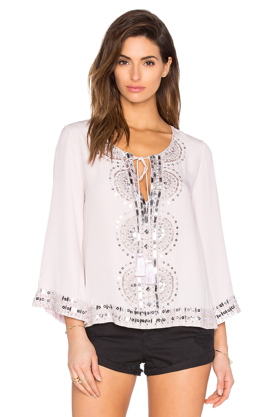 Embellished Tie Neck Blouse In Nude
