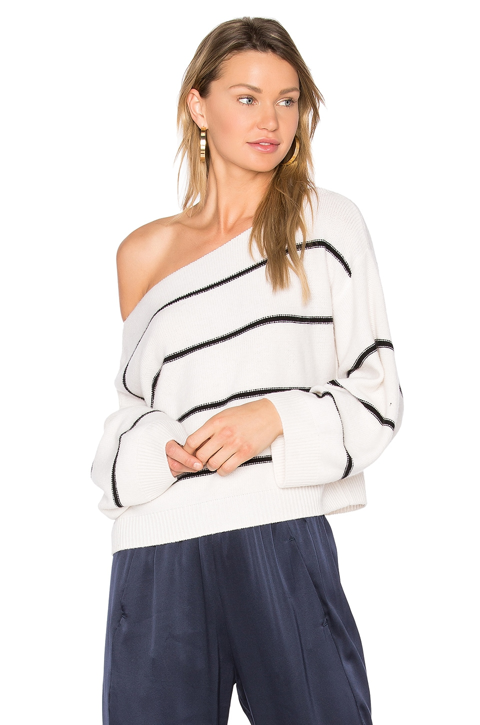 Stripe Cold Shoulder Sweater