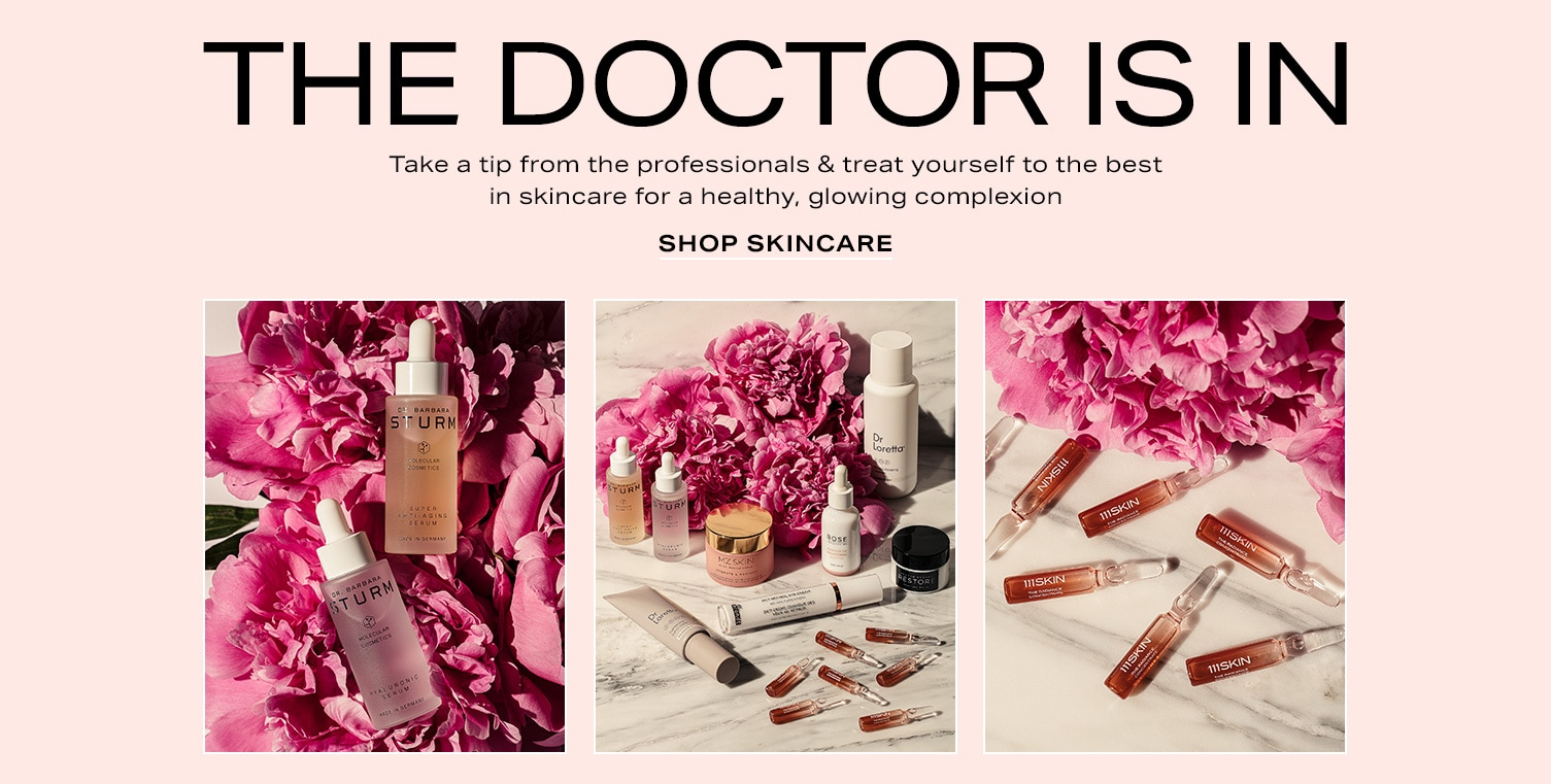 Variety of skincare products scattered on a marble surface with fuscia peony flowers. The Doctor Is In. Take a tip from the professionals & treat yourself to the best in skincare for a healthy, glowing complexion.