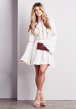 Back Ruffle Dress in Whisper White