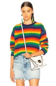 Acne Studios Samara Rainbow-stripe Wool Sweater In Blue,red,stripes,yellow