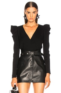 A.L.C. Ruffle Shoulder Sweater - Black