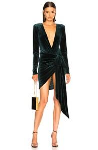 ALEXANDRE VAUTHIER Green Velvet Bow Mini Dress