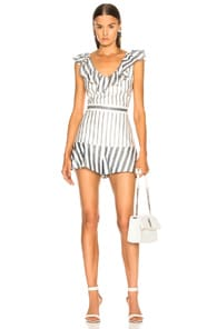 bb562fc1724 Alexis Tamiko Short Striped Jumpsuit In White